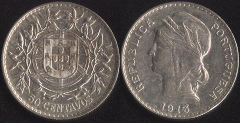 Португалия 50 сентаво 1913