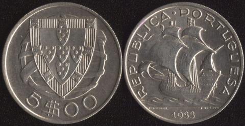 Португалия 5 эскудо 1933