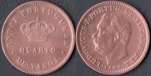 Португальская Индия 1/4 танга 1886