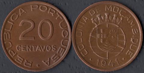 Португальский Мозамбик 20 сентаво 1941
