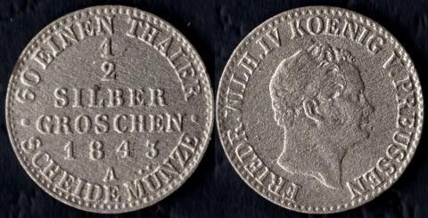 Пруссия 1/2 гроша 1843