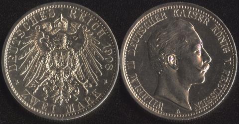 Пруссия 2 марки 1908
