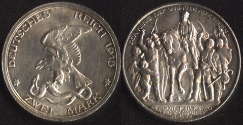 Пруссия 2 марки 1913
