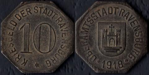 Равенсбург 10 пфеннигов 1918