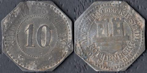 Ротенбург 10 пфеннигов (цинк)