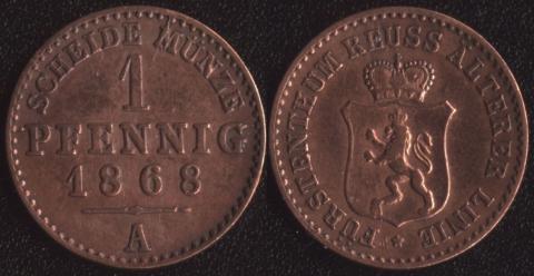Ройс Старшей линнии 1 пфенниг 1868