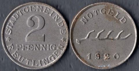 Ройтлинген 2 пфеннига 1920