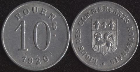 Руан 10 сантим 1920