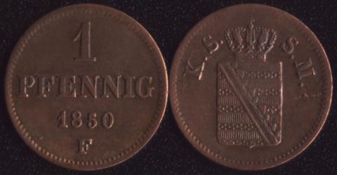 Саксония 1 пфенниг 1850