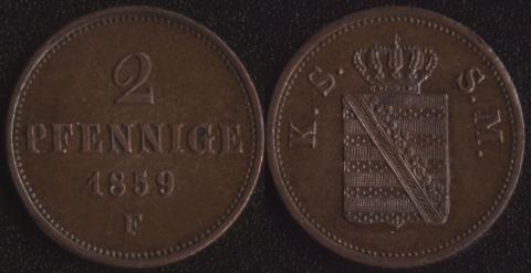 Саксония 2 пфеннига 1859