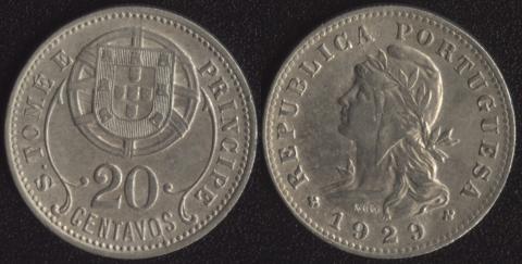 Сан-Томе и Принсипи 20 сентаво 1929
