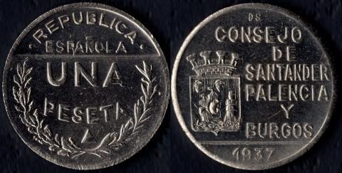 Сантандер, Паленсия и Бургос 1 песета 1937
