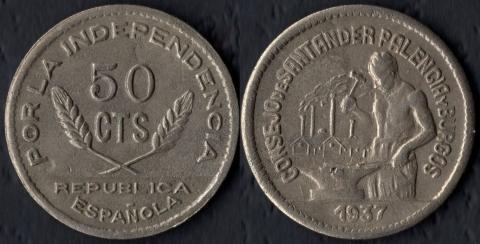 Сантандер, Паленсия и Бургос 50 сентимо 1937