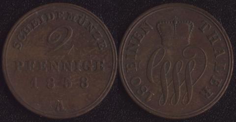 Шаумбург-Липпе 2 пфеннига 1858