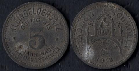 Шмёлльн 5 пфеннигов 1918