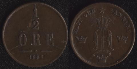Швеция 1/2 оре 1858