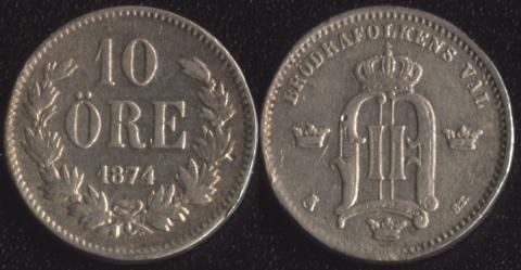 Швеция 10 оре 1874