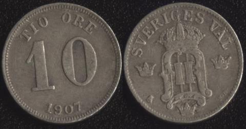Швеция 10 оре 1907