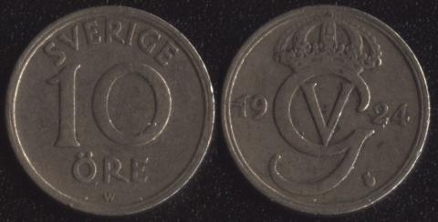 Швеция 10 оре 1924