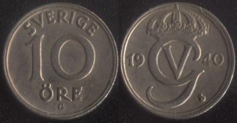 Швеция 10 оре 1940