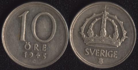 Швеция 10 оре 1945