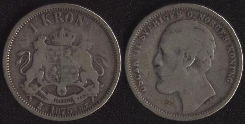 Швеция 1 крона 1875
