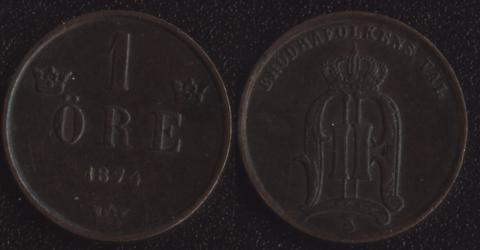 Швеция 1 оре 1874