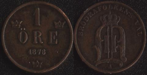 Швеция 1 оре 1878