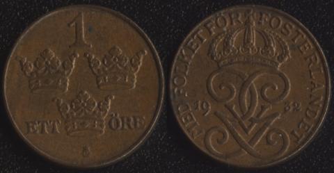 Швеция 1 оре 1932