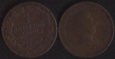 Швеция 2/3 скиллинга 1843