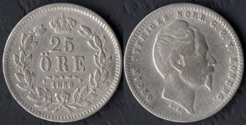 Швеция 25 оре 1859