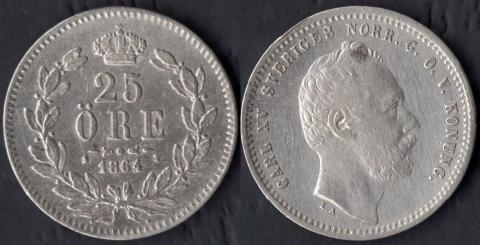 Швеция 25 оре 1864