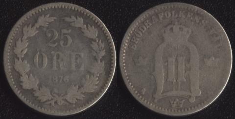 Швеция 25 оре 1876