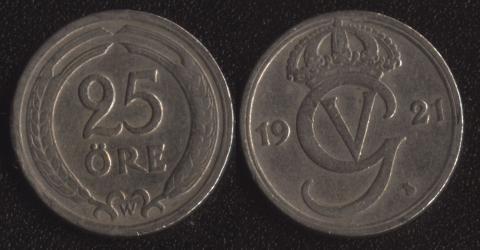 Швеция 25 оре 1921
