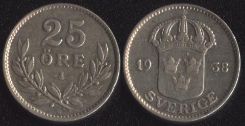 Швеция 25 оре 1938