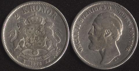 Швеция 2 кроны 1876