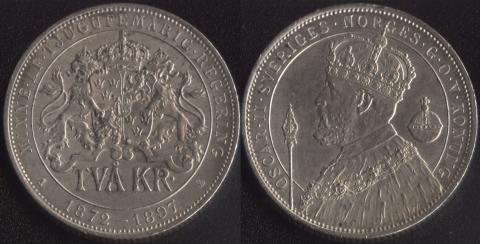 Швеция 2 кроны 1897 - 25 лет правления Короля Оскара II