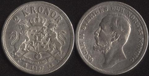 Швеция 2 кроны 1897
