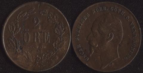 Швеция 2 оре 1858