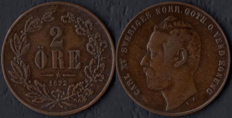 Швеция 2 оре 1872