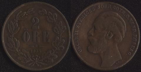 Швеция 2 оре 1873