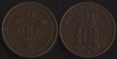 Швеция 2 оре 1907