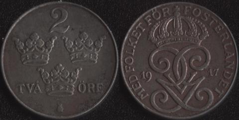 Швеция 2 оре 1917