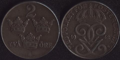Швеция 2 оре 1942