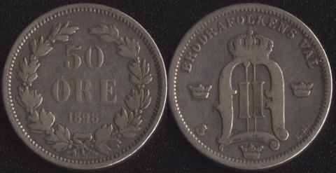 Швеция 50 оре 1898