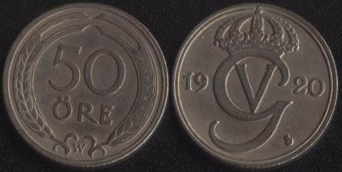 Швеция 50 оре 1920