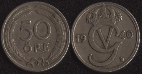 Швеция 50 оре 1940