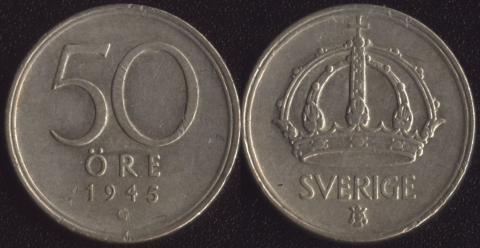 Швеция 50 оре 1945