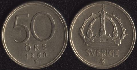 Швеция 50 оре 1950