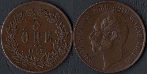 Швеция 5 оре 1857